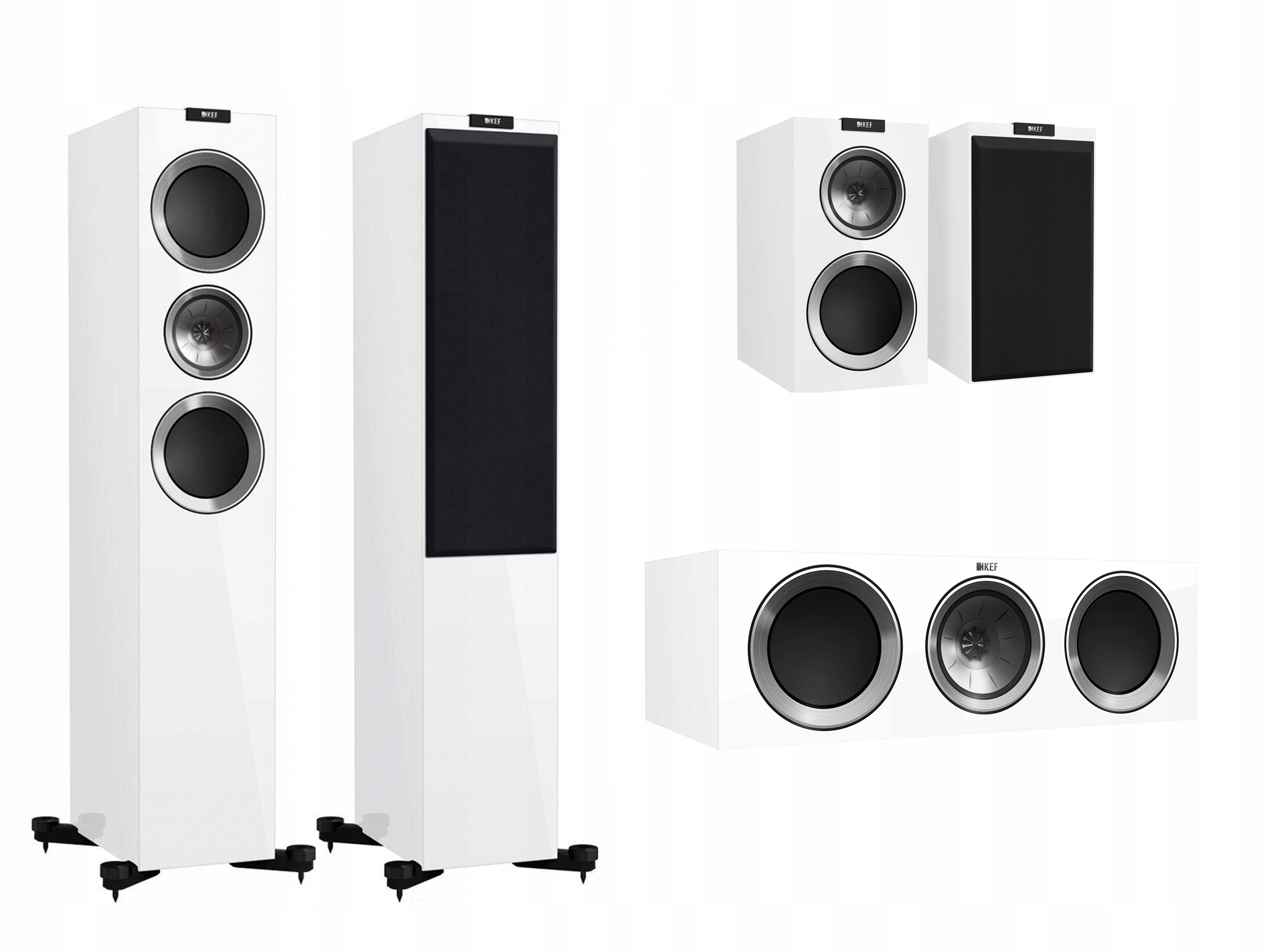 Kef R700 + R300 + R200c White High-Gloss