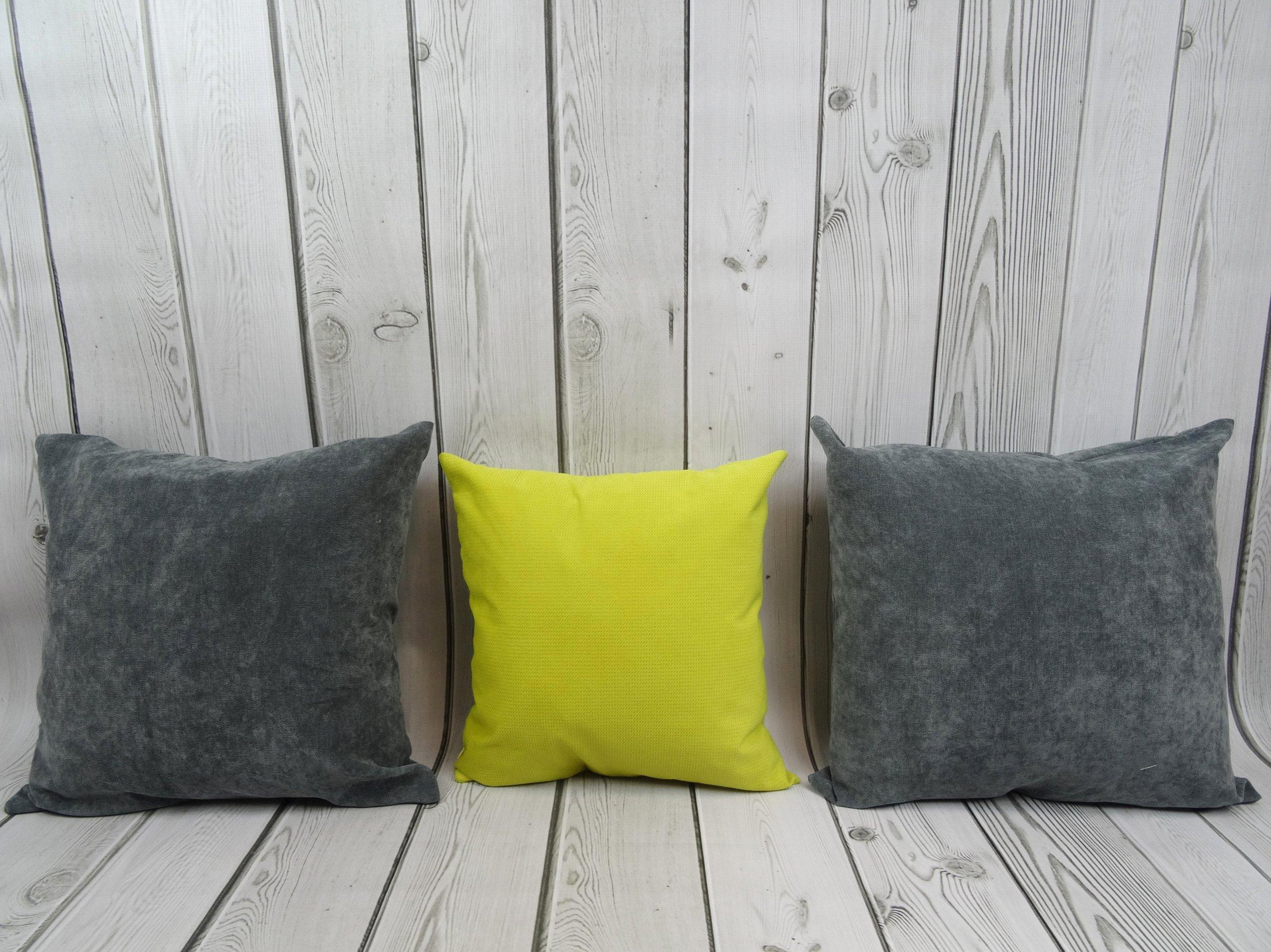 3 Poduszki Dekoracyjne Dwie Duże Szare I żółta 7178973852
