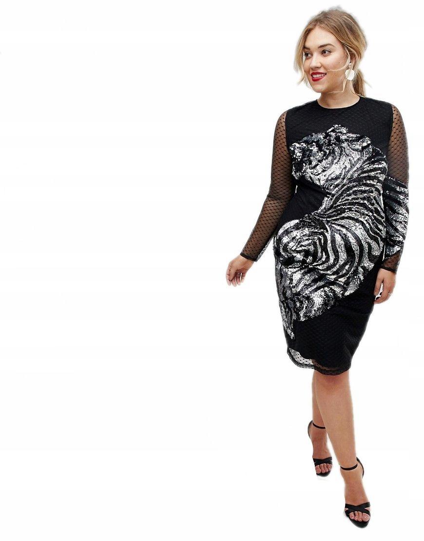 5b3ff45f6e sukienka plus size CZARNA midi TYGRYS 50 - 7580372876 - oficjalne ...