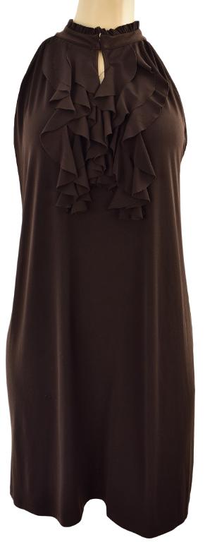 lZ0121 brązowa elegancka sukienka z falbaną  44