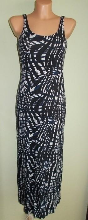 ec00af57fe Sukienka długa maxi biało czarna H M ( XS   S - 7363281293 ...