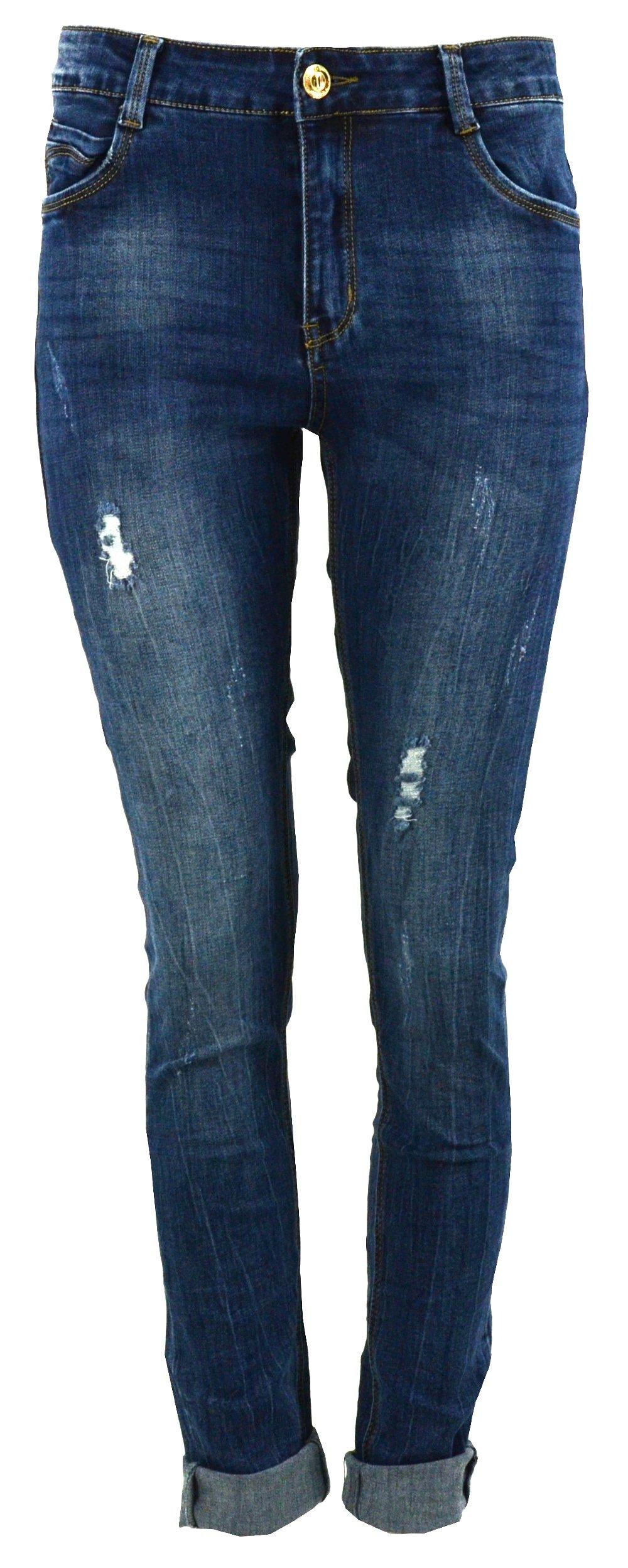 33ce0761f55004 Spodnie jeansowe damskie RURKI Z DZIURAMI- 34 - 7072748742 ...