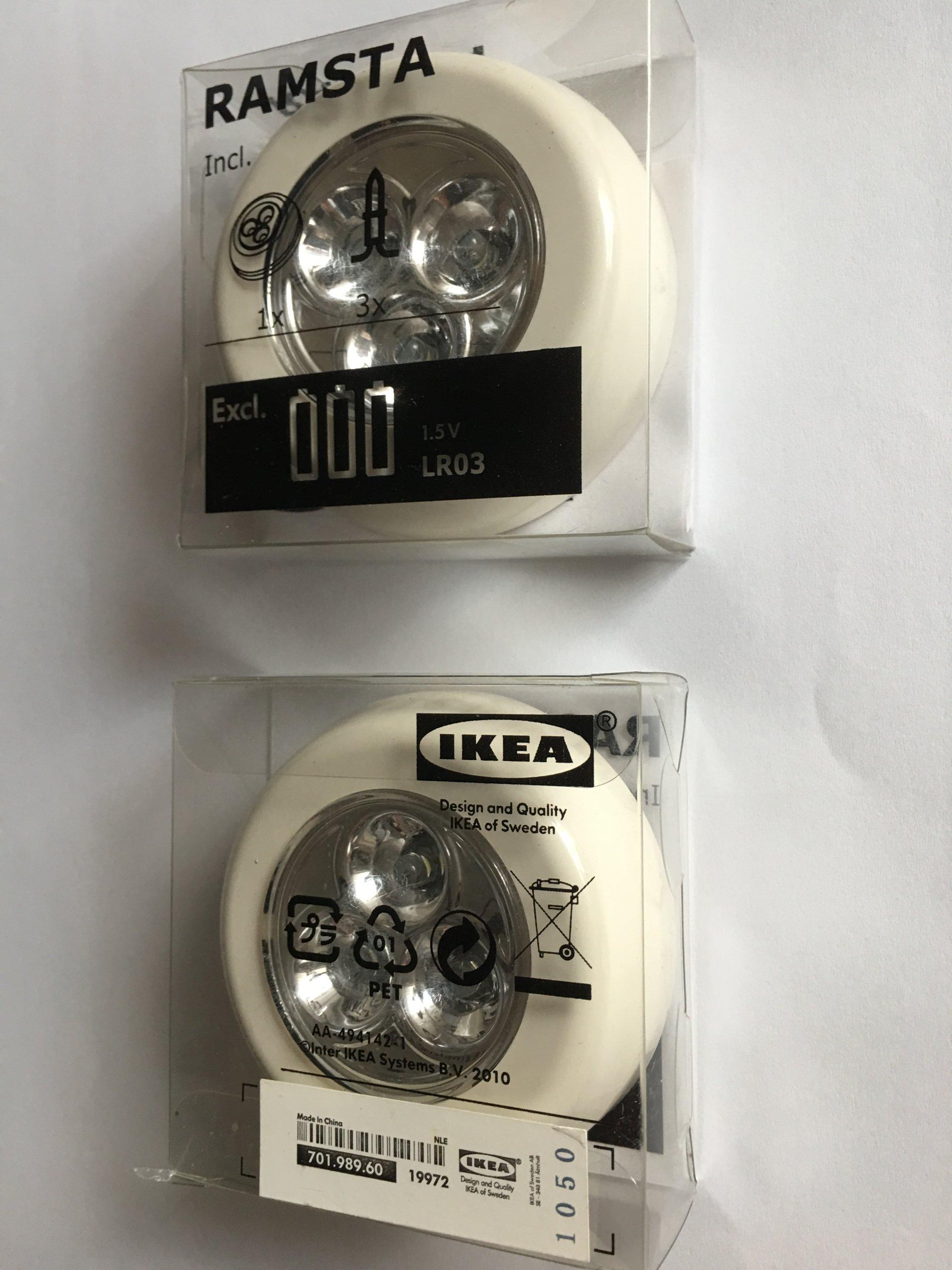 Lampki Nocne Led Na Baterie 2 Szt Ikea Ecru
