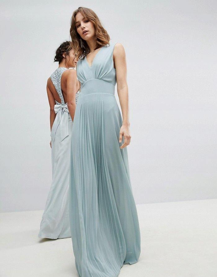 d57787f92dae31 TFNC Miętowa maxi sukienka plisowana spódnica (40) - 7638203731 ...