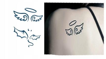 Tatuaż Zmywalny Skrzydła Anioł Diabeł Devil Rogi