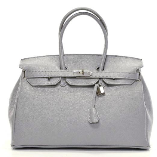 68c6c9a050f69 Skórzana torebka z kłódką kuferek IT BAG szara - 7406177581 ...