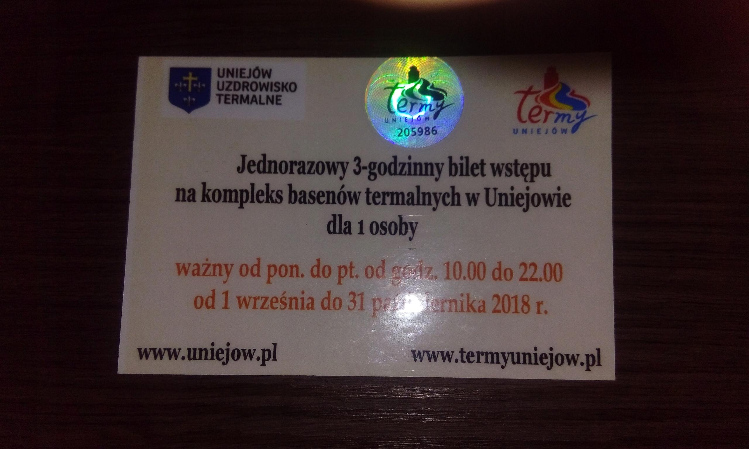 Termy Uniejów - bilet wstępu-3h !! baseny/sauny !