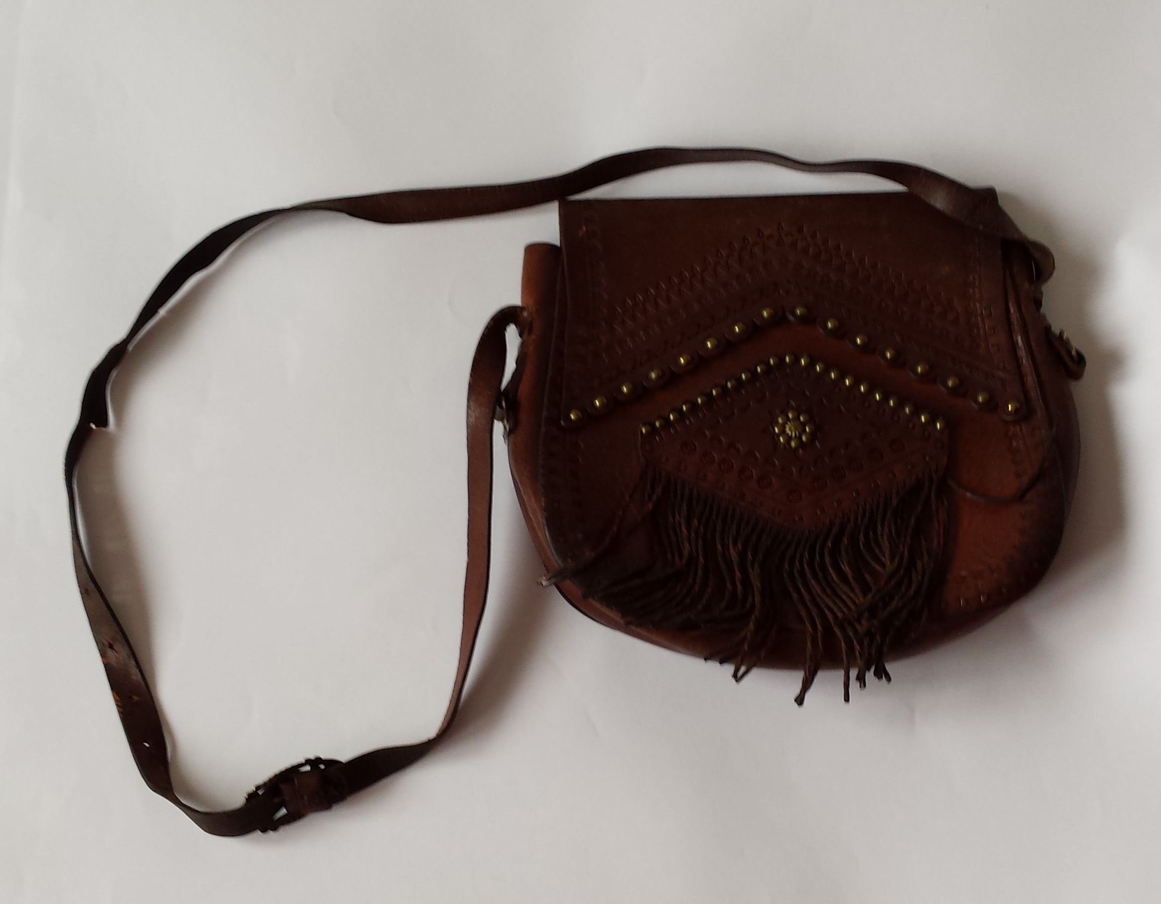 99bf55bcfab5c brązowa skórzana torebka boho vintage - 7200537986 - oficjalne ...
