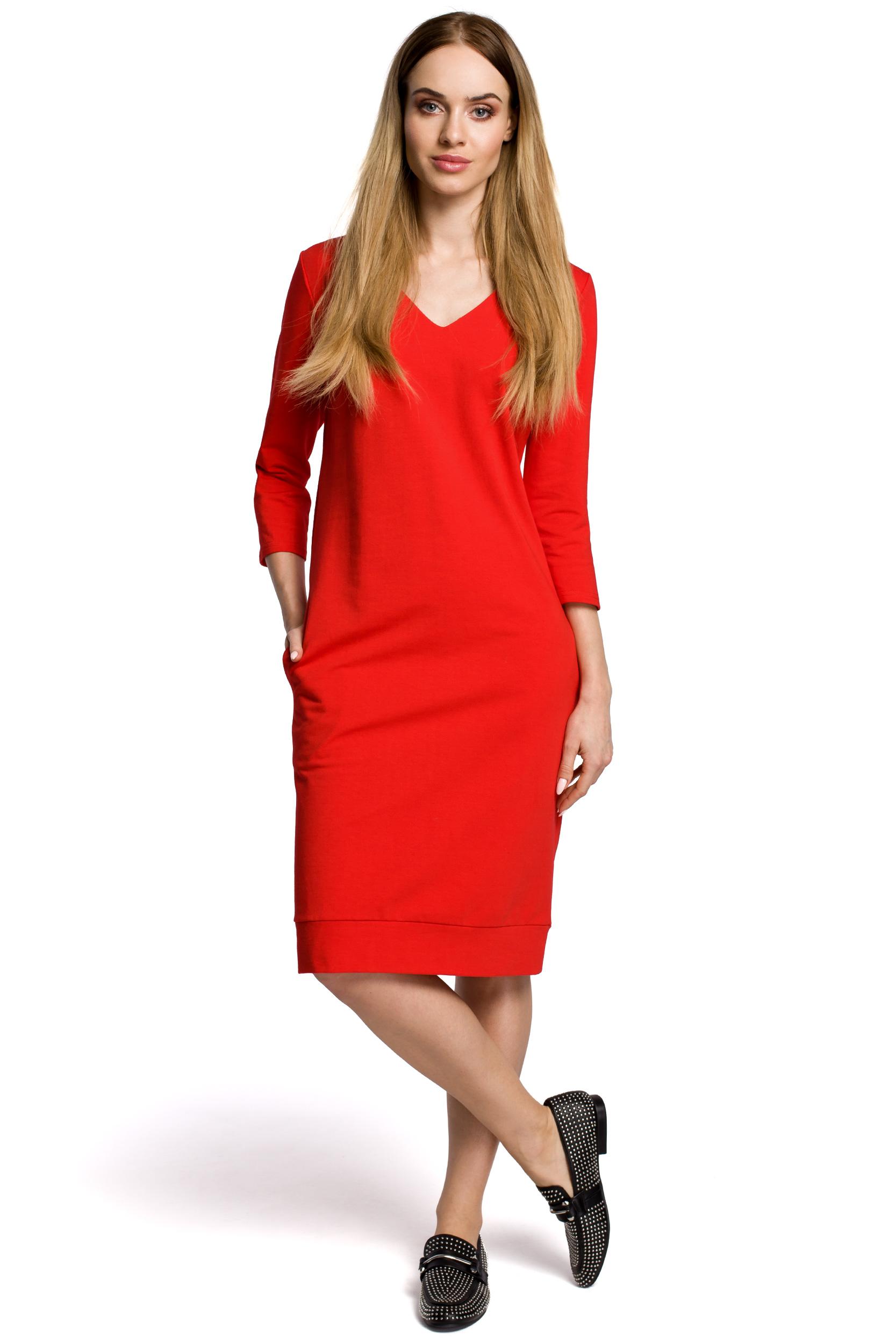 7fbc587705d927 Sukienka pudełkowa z dekoltem w serek - czerwona - 7245543481 ...