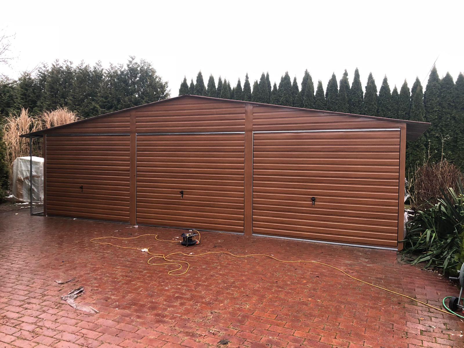 Garaż Blaszany Drewnopodobny 9x6 Złoty Dąb Orzech 7265852103