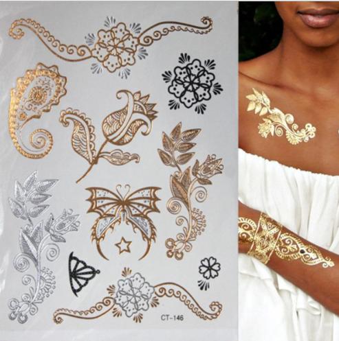 Tatuaże Tymczasowe Złote Naklejki Na Ciało 7296880235