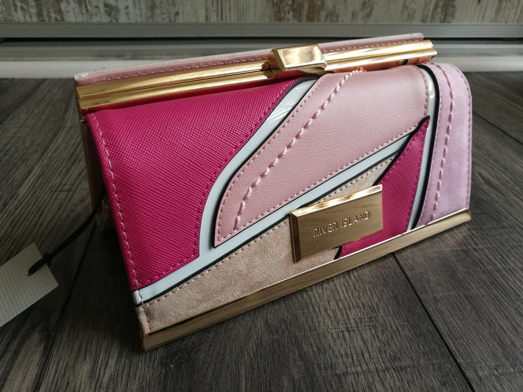 b04254efa4ca7 Portfel RIVER ISLAND logo patchwork pink beige PL - 7311148994 ...