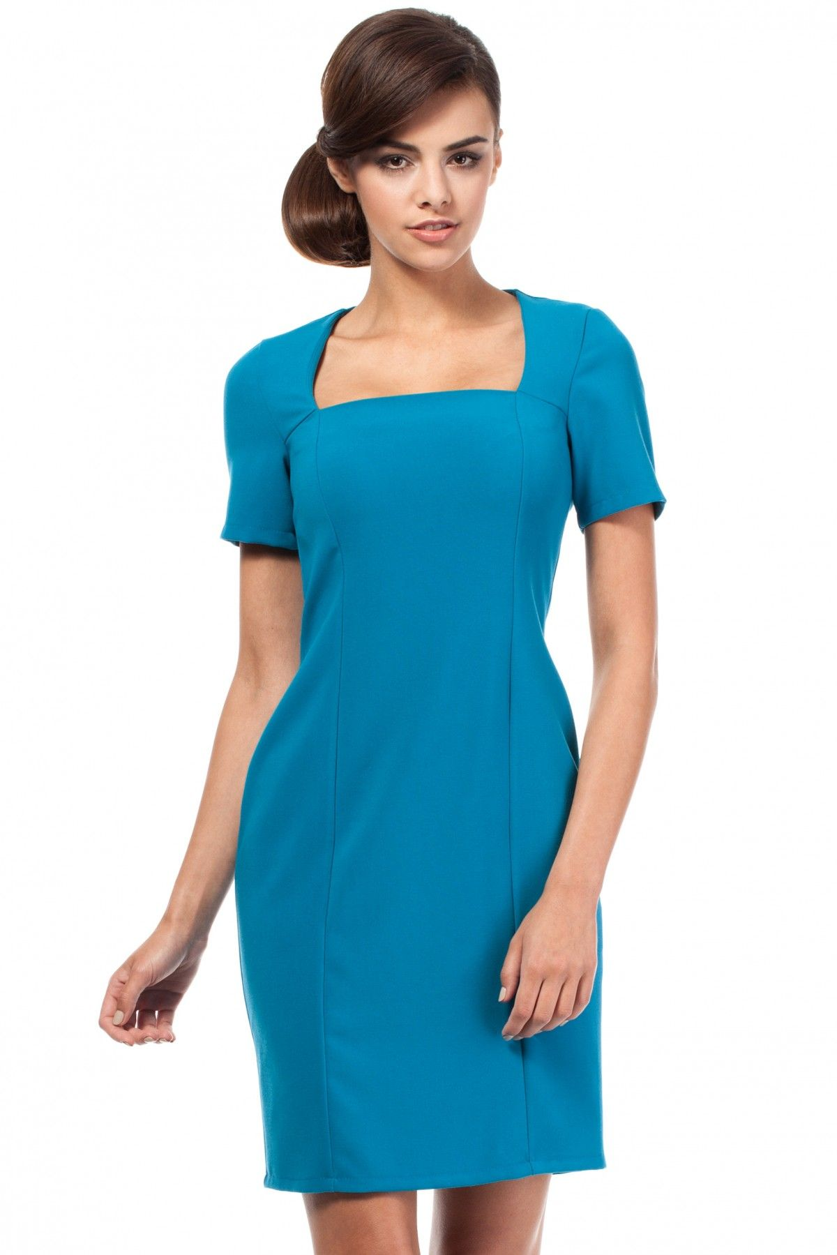 62849e415d Elegancka Dopasowana Ołówkowa Sukienka dekolt KARO - 7354565859 ...
