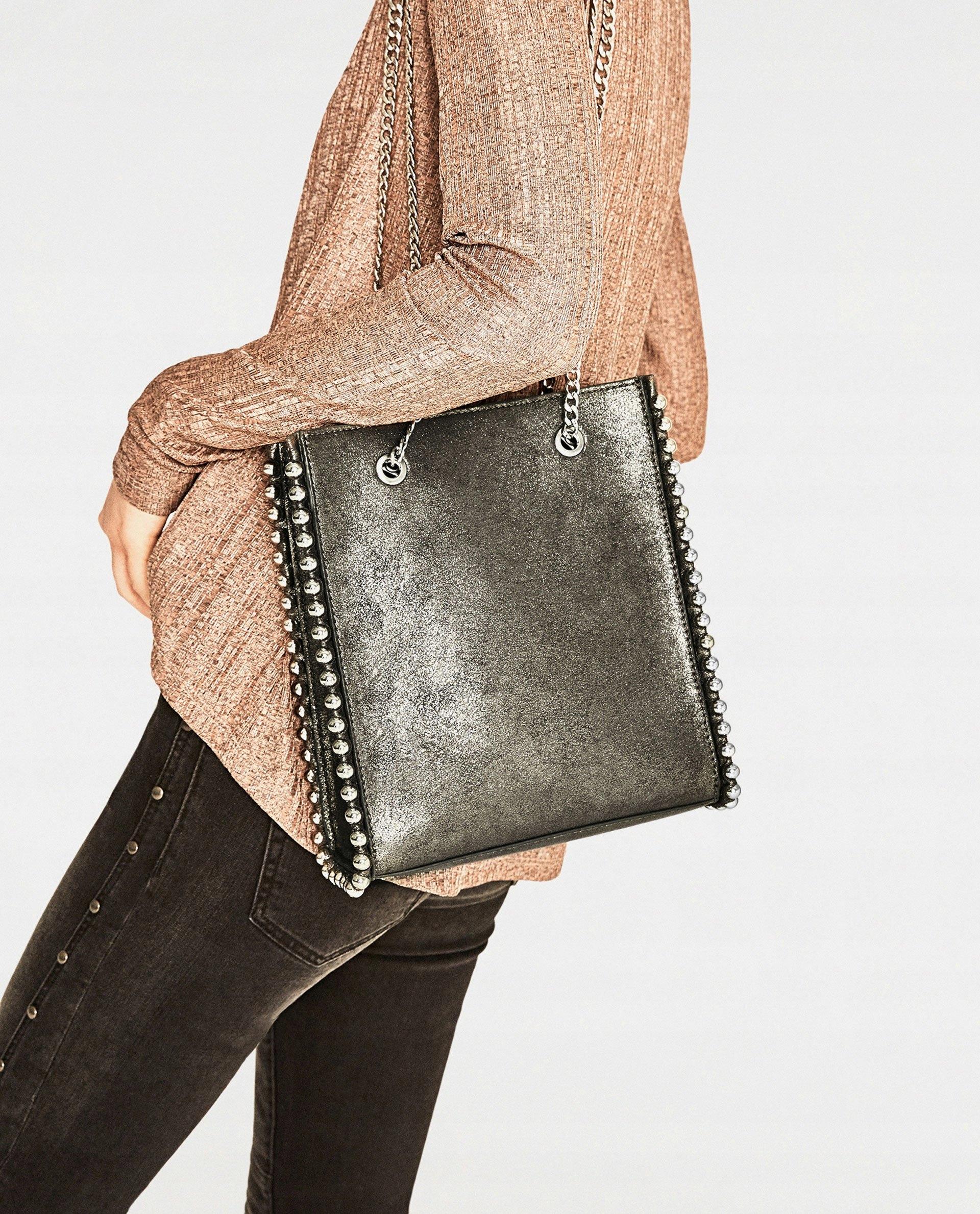 a543b82216ae3 Zara mini torebka shopper z ćwiekami - 7364513935 - oficjalne ...