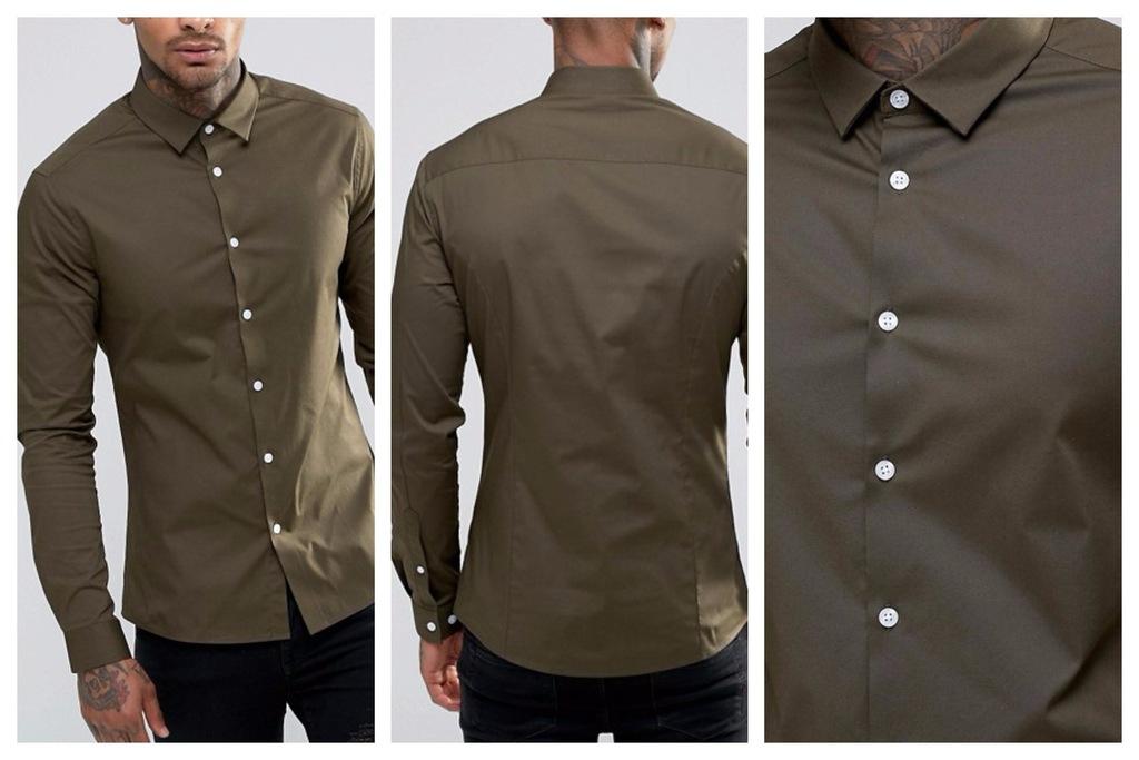 mn79 koszula khaki oxford bawełniana skinny XL