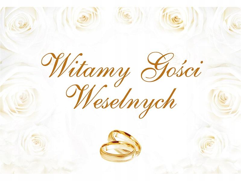 PLAKAT WITAMY GOŚCI 58x40cm ślub wesele dekoracja
