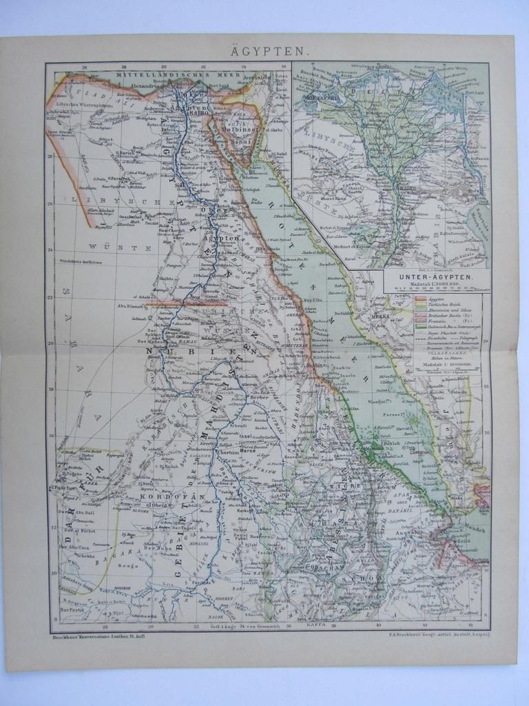 AFRYKA EGIPT mapa 1898 r.