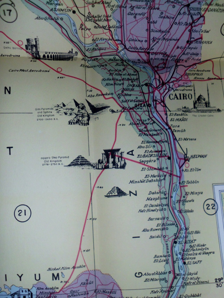 1957 stara mapa Egipt ROAD MAP OF EGYPT 1:500000
