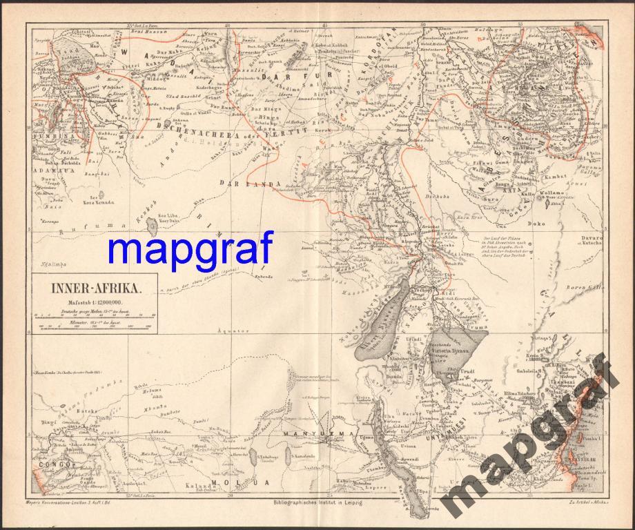 AFRYKA ŚRODKOWA stara mapa z 1874 roku ORYGINAŁ