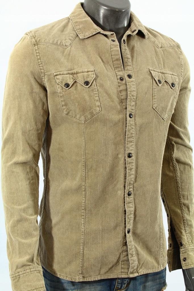 H&M Koszula sztruksowa na zatrzaski! M 7662644529  NHodH