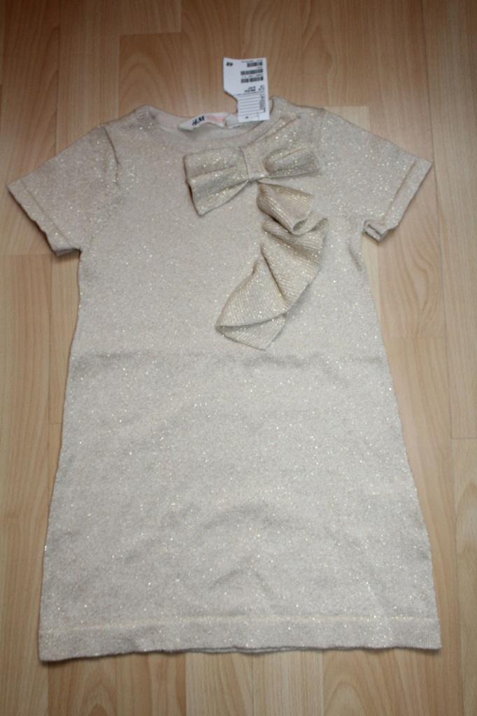 Śliczna nowa złota sukienka -tunika 98/104 H&M