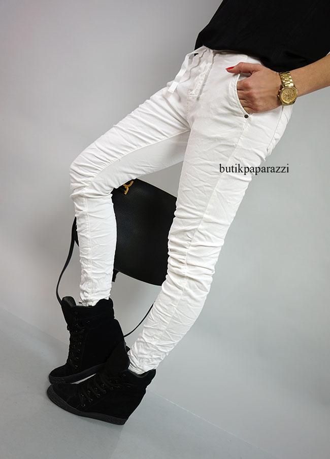 MELLY & CO Denim Jeans Białe Rurki Casual M