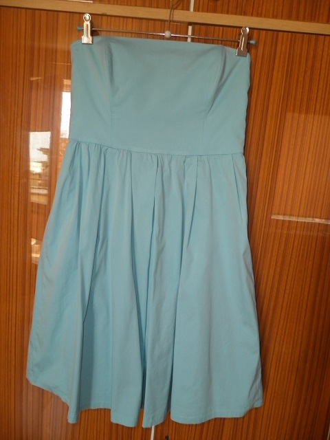 ZARA WOMAN sukienka gorset kloszowana błękitna