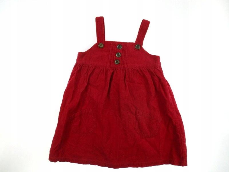 MYLU next czerwona sztruksowa sukienka na szelkach