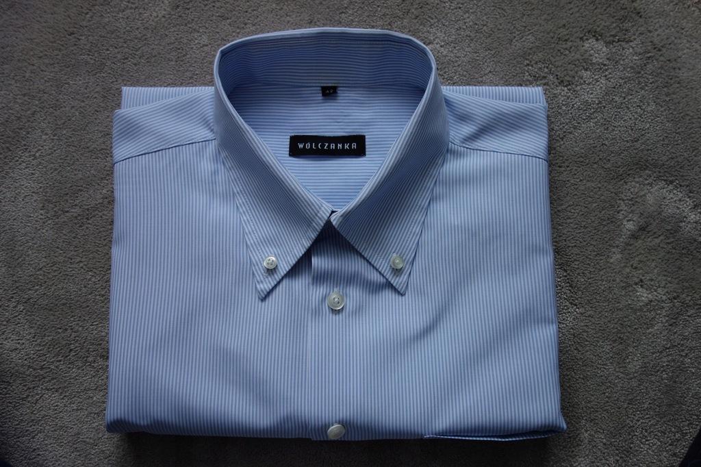 Koszula męska WÓLCZANKA rozm. 42 paski biało-nieb.