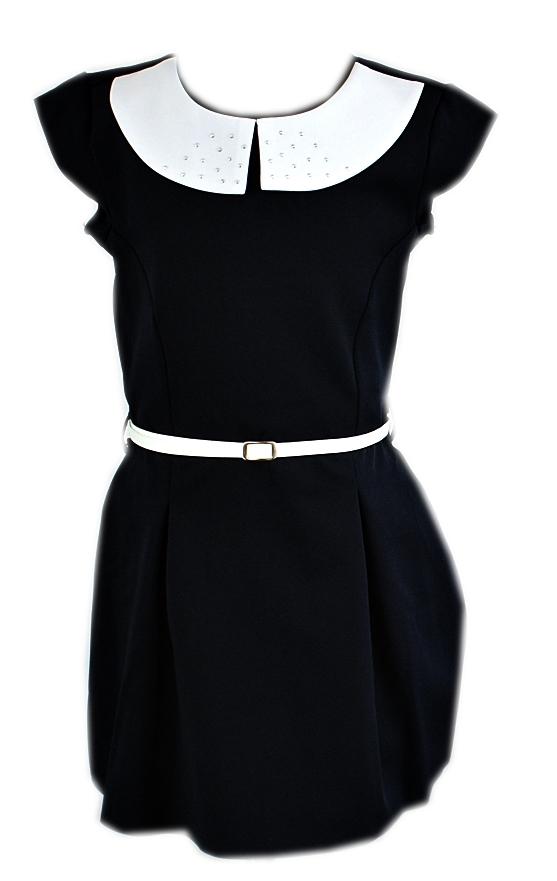140 Sukienka Galowa Czarna Kolnierzykiem Swiet 7616274199 Oficjalne Archiwum Allegro