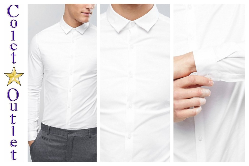mo93 koszula biała elegancka skinny oxford S