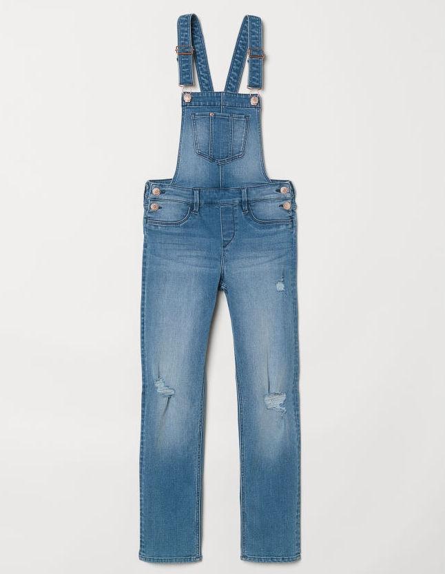 H&M Spodnie dżinsowe jeans ogrodniczki 134 cm