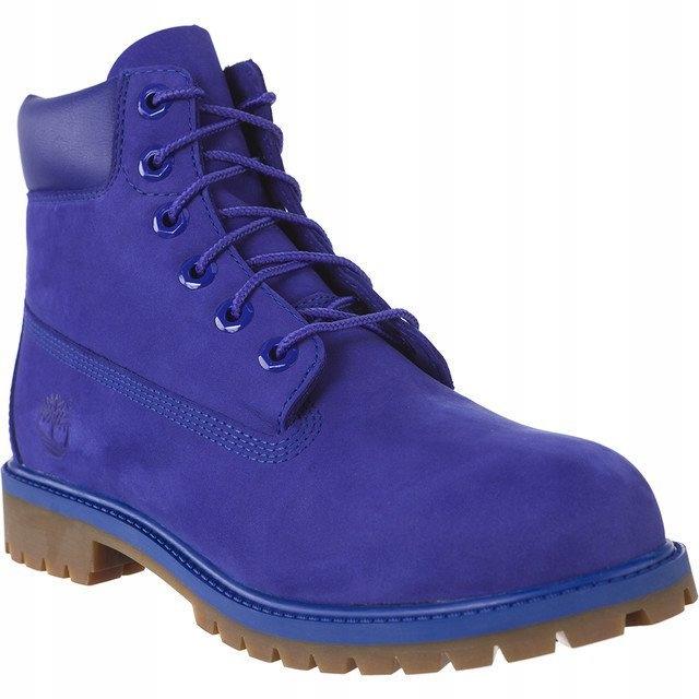 Niebieskie Nubukowe Buty Glany Timberland r.39,5