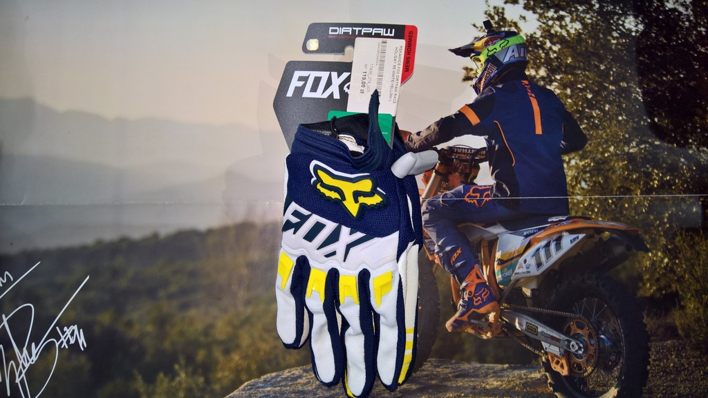 Rękawice Fox Dirtpaw Race Holiday SE Wht/Yellow M