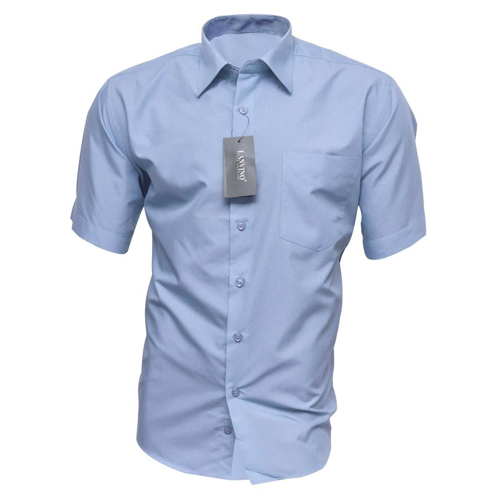 4344 Koszula Męska BŁĘKITNA Krótki Rękaw Bawełna  fRocK