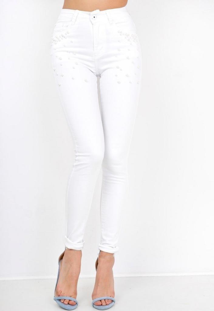 Czarne i białe jeansy rurki ozdobne kuleczki Biały