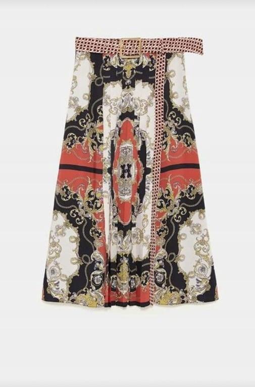 Blogerska spódnica zara we wzory z plisowaniem M