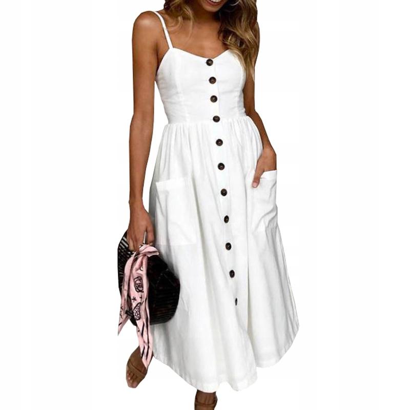 Biała zwiewna sukienka zapinana na guziki 45 SU S