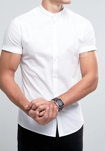 koszula biała skinny slim stójka casualowa M