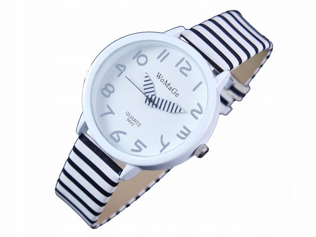 GR17 DZIECIĘCY Zegarek ZEBRA w Paski Pencil Biały