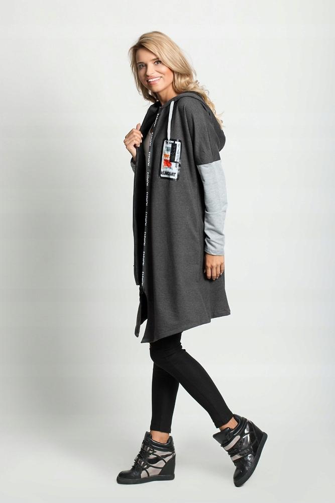 Długa bluza z kapturem FASHION suwak E06 W4 XL