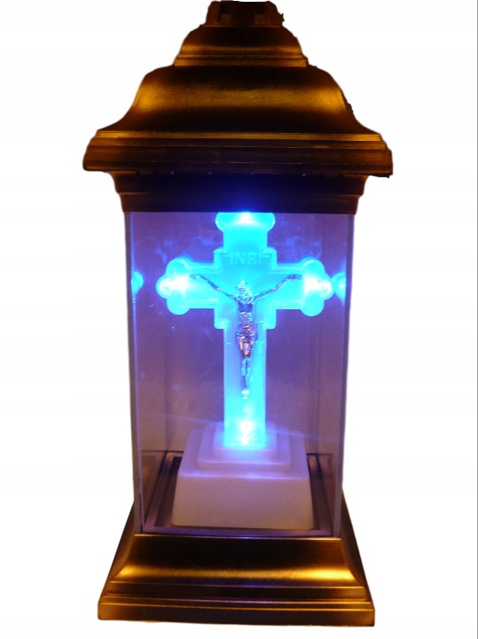 WKŁAD ZNICZ KAPLICZKA ZŁOTO KRZYŻ ŚWIECĄCY LED
