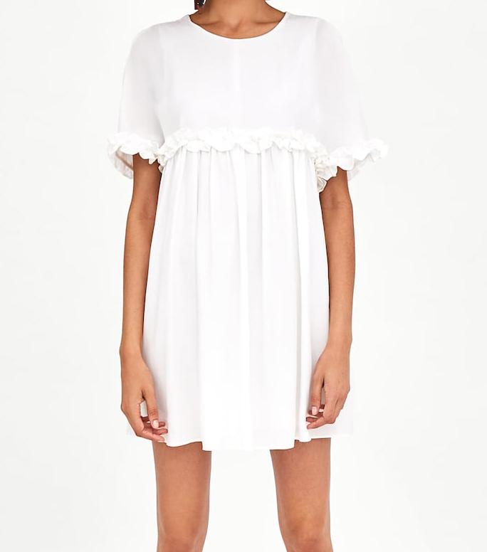 Zara sukienka kombinezon z falbankami S