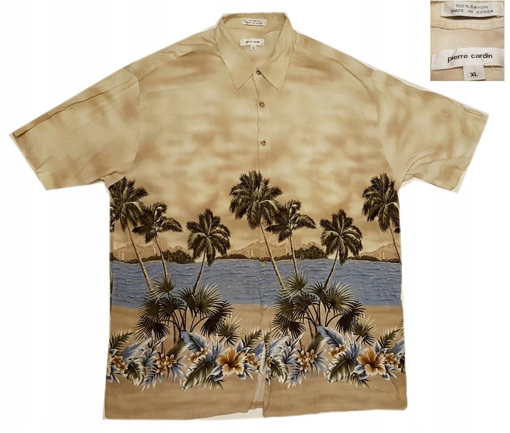 Koszula hawajska tropikalna palmy plaża Cardin XL