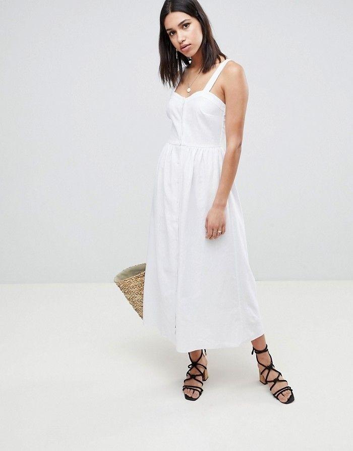 ASO DESIGN Biała lniana sukienka midi (40) HIT