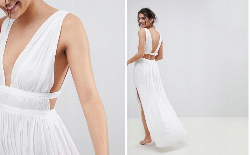 209449 D1 Sukienka Maxi Plazowa Biala Zwiewna 36 7676133358 Oficjalne Archiwum Allegro