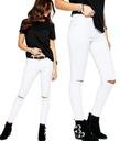 Spodnie RURKI Z DZIURAMI SLIM Dziury White Jeans S