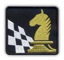 Naszywka - SZACHY, szachownica i koń, złoty HAFT