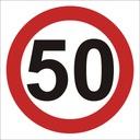 ZNAK OGRANICZENIE PRĘDKOŚCI 50 km/h 40x40 DIBOND