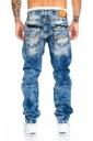 Cipo Baxx Spodnie Jeansy Przecierane Nić Regular Kolor niebieski